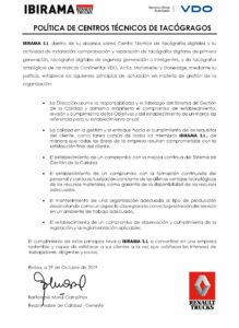 ANX3 - POLITICA DE CALIDAD IBIRAMA S.L. revisada 29_10_19